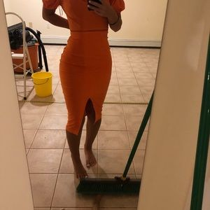 Orange midi dress off the shoulder